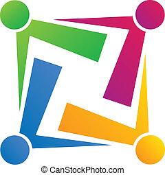 lag, anslutning, folk, logo