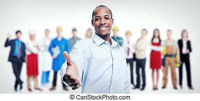 lag, arbetare, group., working., affärsmän