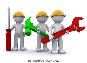 lag, av, anläggningsarbetare, med, utrustning