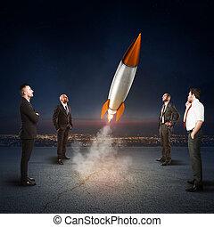 lag, av, businesspeople, ser, start, a, missile., begrepp, av, företag, start, och, färsk, business., 3, rendering.