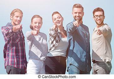 lag, av, ungdomar, visande, händer vidarebefordrar