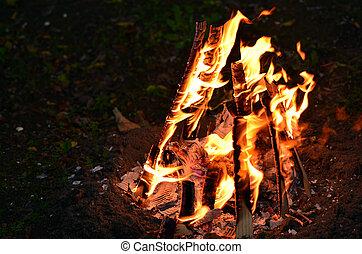 Lag Ba'Omer Jewish Holiday Bonfire - Bonfire lit on Lag...