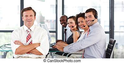 lag, centrera, affär, arbete, ringa