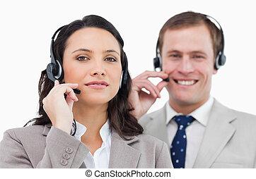 lag, centrera, deras, ringa, hörlurar