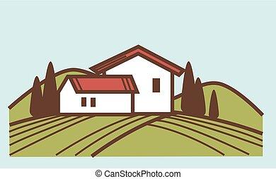 lagar, y, viña, casa granja, vector, winemaking, viticultura, o, vino, producción, diseño