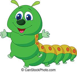 lagarta, caricatura, cute