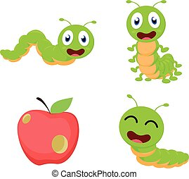 lagarta, caricatura, jogo, cobrança, cute