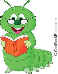 lagarta, caricatura, livro, leitura