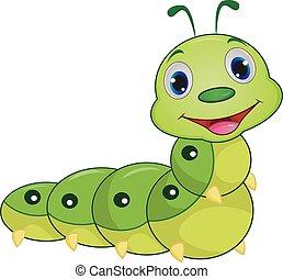 lagarta, cute, caricatura