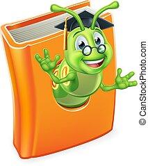 lagarta, livro, verme, bookworm, graduado