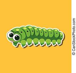lagarta, personagem, adesivo