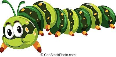 lagarta, verde branco, fundo, rastejar