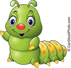 lagarta, verde, caricatura