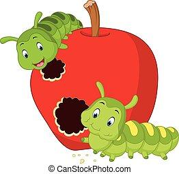 lagartas, comer, maçã