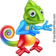 lagarto, carácter, caricatura, señalar, camaleón