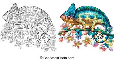 lagarto, coloração, camaleão
