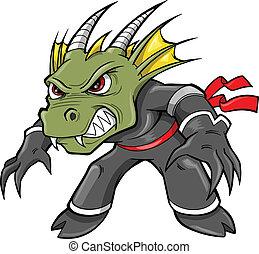 lagarto, dragón, ninja, vector, guerrero
