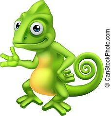 lagarto, personagem, caricatura, camaleão