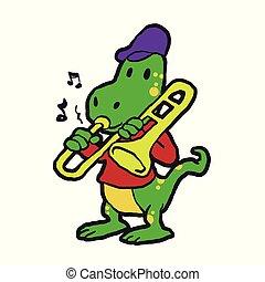 lagarto, trompeta, juego, caricatura