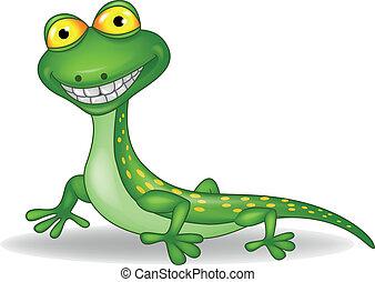 lagarto, verde, caricatura