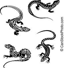 lagartos, tribal, estilo, rápido