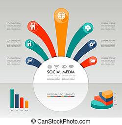lagen, informatie, communie, bestand, media, set., sociaal, infographic, diagram, editing., vector, gemakkelijk, grafiek, netten