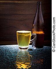lager, öl, in, glas