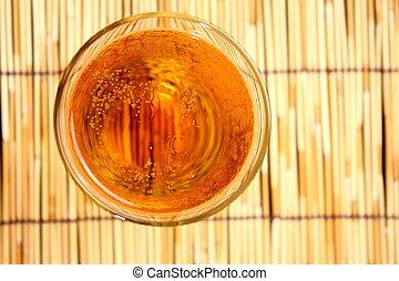 lager, öl, närbild, in, glas