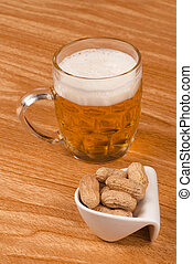 Lager and peanuts