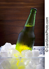 lager beer in ice cooler