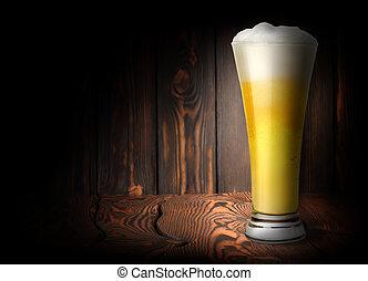 Lager beer on a dark background