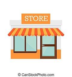 lager, byggnad, dörr, ikon, främre del, butik