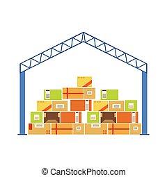 lager , gebäude, metalldach, baugewerbe, mit, oben angehäuft, papierbuchsbaum, pakete, gelagert, unterhalb