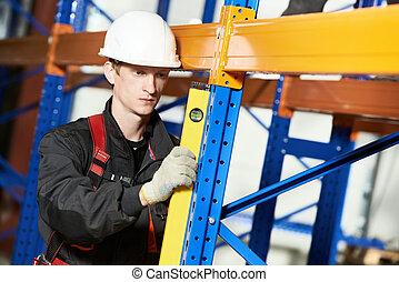lager, installerare, arbetare, undersöka, kvalitet