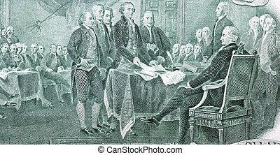 lagförslag, dollar, två, oberoende, deklaration