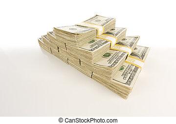 lagförslaget, dollar, gradering, en hundra, buntar