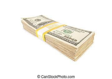 lagförslaget, dollar, isolerat, en hundra, stack