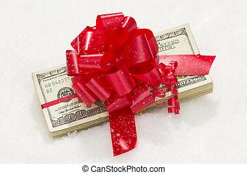 lagförslaget, dollar, snö, röd, hundra, stack, band
