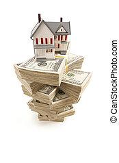 lagförslaget, hus, dollar, liten, hundra, buntar