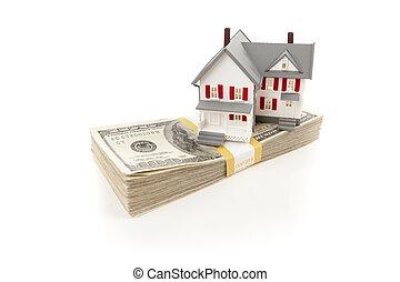 lagförslaget, hus, dollar, liten, hundra, stack
