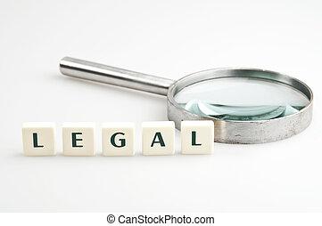 laglig, ord, och, förstoringsglas