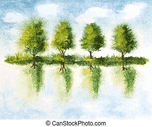 lago, árboles, acuarela, vector, ilustración, water., ...