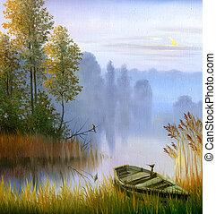lago, óleo, banco, bote, lona
