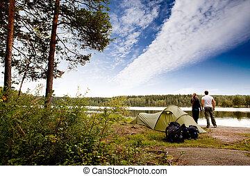lago, acampamento