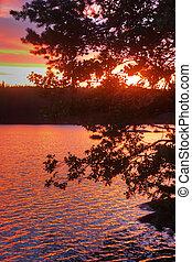 lago, amanhecer