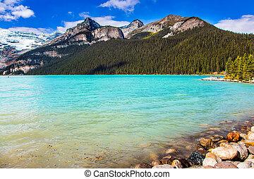 lago, azure, água
