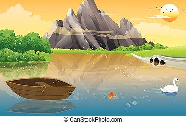 lago, barca, illustrazione
