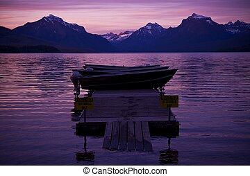 lago, barco, y, ocaso