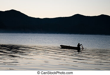 lago, bote, pesca