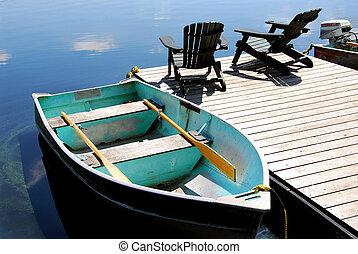 lago, cadeiras